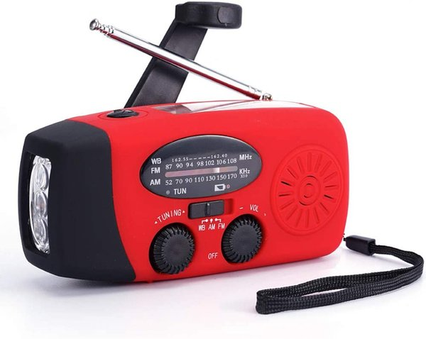 top popular FM AM NOAA Weather Radio Hand Crank Self Powered Solar Emergency Radios with 3 LED Flashlight 1000mAh Power Bank Smart Phone Charger (Red) 2021