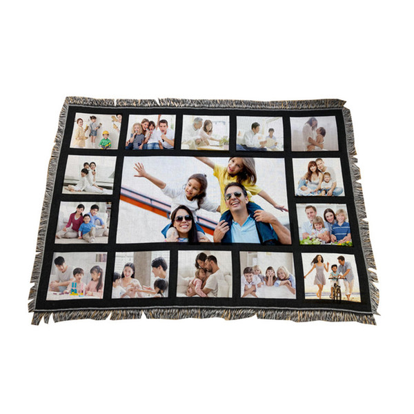 best selling Panels Blanket Sublimation Blanket Thermal Transfer Printing Blankets Panels Blanket 9 15 Grids Heart Moon Blankets Free Shipping A02