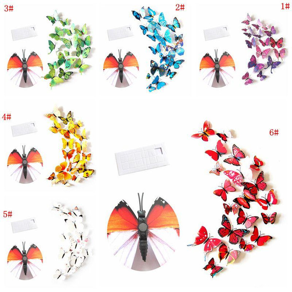 best selling 12pcs 3D Butterfly Wall Sticker PVC Simulation Stereoscopic Butterfly Mural Sticker Fridge Magnet Art Decal Kid Room Home Decor VT0446