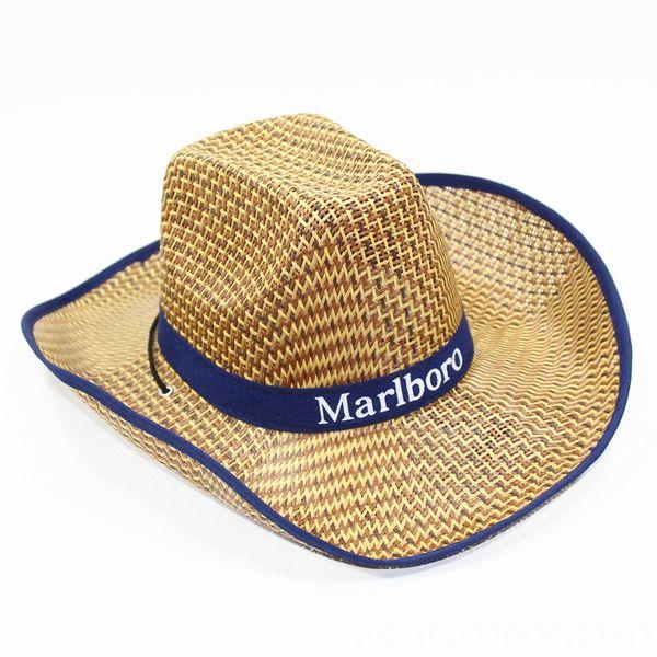 Men # 039; s grandes aleros sombrero de paja Azul marino-Aver
