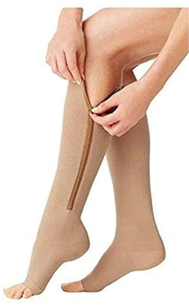 best selling 100 Pairs Zipper Medical Compression Socks Women Men Knee High Leg Support Unisex Open Toe Knee 15-20mmHg Zip Socks