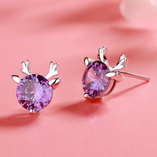 Pendientes cornamenta (púrpura Diamante) -925 Sil