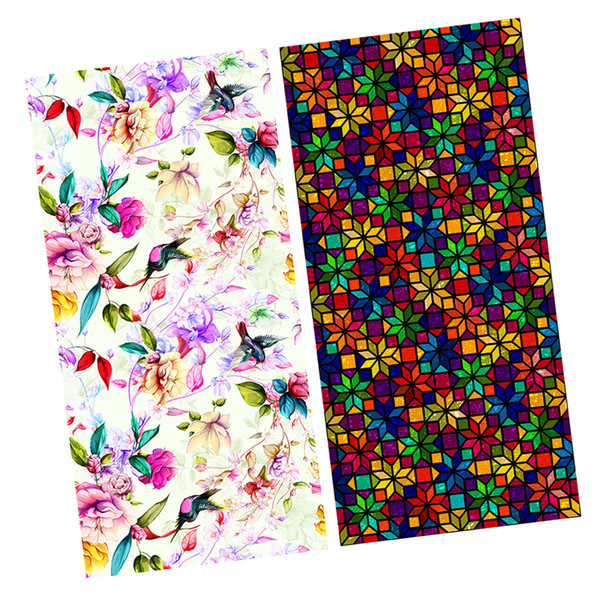 best selling 2 Pieces Floral Static Cling Privacy Stained Door Window Film Anti UV Bathroom Decor