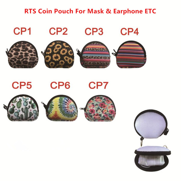 top popular New MultiFunction Neoprene Small Coin Purse Coin Purse Face Mask Holder For Earphone Bags Zipper Change Purse Zipper Coin Pouch With Keyring 2021
