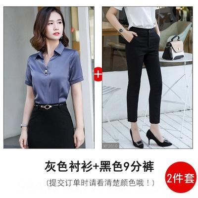 Короткие рукава Серый Синий рубашка + черный Анк