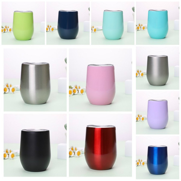top popular 11 color Drinkware 360ml with Lid car cup Stainless Steel Tumbler Stemless Wine glass Metal Edge wide mouth Coffee cup T2I51370 2021