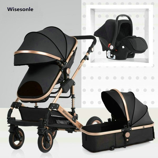 best selling 2020 New Baby Trolley High Landscape 3 To 1 Baby Stroller Double Faced Children Free Shipping In Four Seasons In Russia