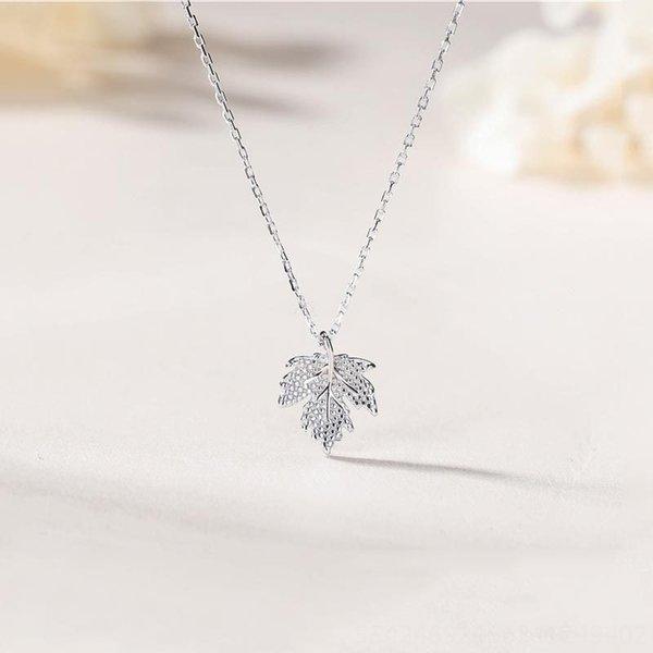 Ahornblatt-Halskette-925 Ganzkörper-Sterl