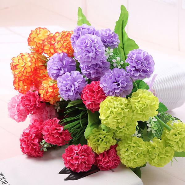 1 bunch of 9 artificial Hydrangea chrysanthemum ball artificial silk flower DIY home garden wedding party shop decoration