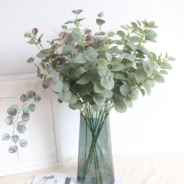 Green Artificial Leaves Large Eucalyptus Leaf Plants Wall Material Decorative Fake Plants For Home Shop Garden Party Decor 66cm