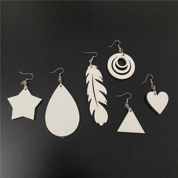 top popular Craft Wooden Earring Personalized Custom Gift Sublimation Blank Ear Drop with hook for DIY Heat Transfer Printing Novelty Adorable DIY Gift 2021