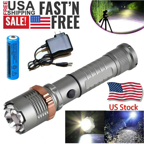 best selling 3800LM Upgraded T6 Tactical LED Flashlight Rechargeable Police Waterproof Zoomable Hiking Powerful Torch 18650 Battery + Direct Charger