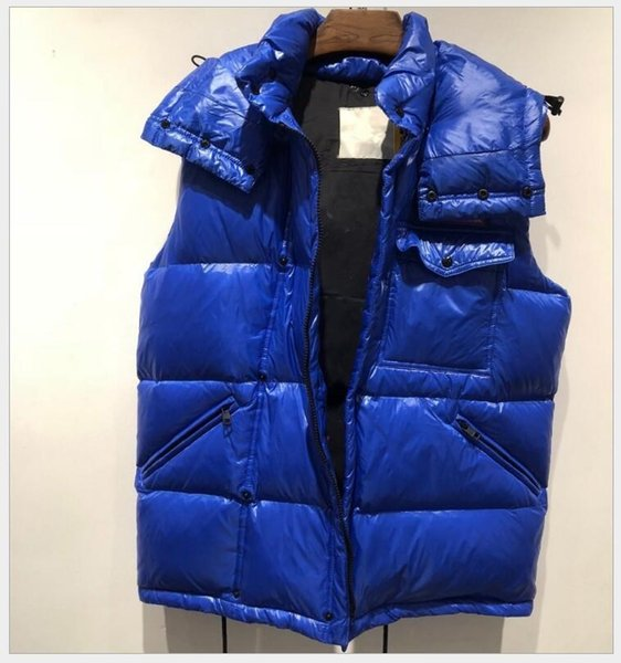 best selling French Men's light black blue waistcoat Fall and winter new star style bright front hooded down jacket vest for men and women