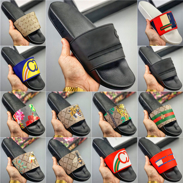 top popular 2020 New Women Man Slippers Flat Slides Sandals Flip Flop Summer Shoes Fashion Slip Slippers Designer Beach shos Bedroom shoes 001 2020
