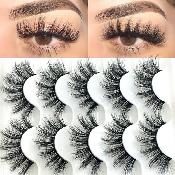top popular 20 Pairs Boxed 25mm Mixed Styles 3D Mink False Eyelashes Natural Long Lashes Handmade Wispies Bushy Fluffy Eye Makeup Tools DHL Free 2021