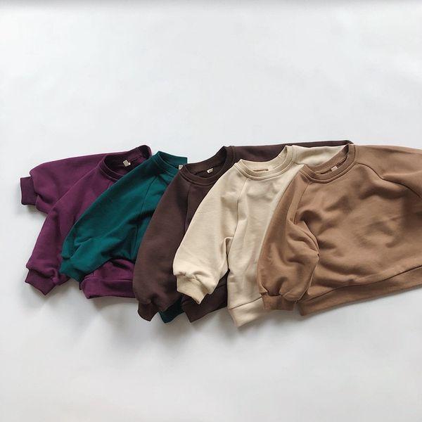 top popular HX Korean Style Newest INS Little Boys Girls Plain Sweatshirts Designer Spring Autumn Puff Sleeve Children Bountique Clothes Sweatershirts 2021