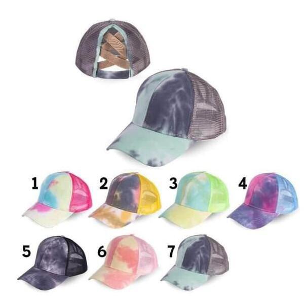 top popular Tie Dye Ponytail Baseball Cap Criss Cross Snapback Hip Hop Hats Summer Mesh Trucker Hat Sun Protection Girls Caps OOA8328 2021