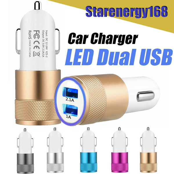 best selling 168 Hot Aluminum Alloy 2 USB Ports Universal Intelligent Charging Strong Compatible DC12-24V 2.1A Dual USB Car Charger for All Mobile Phone