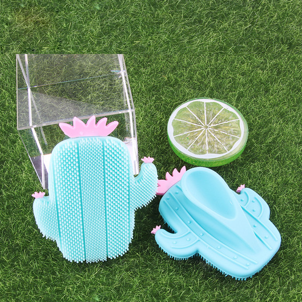 best selling Fashion Cactus Silicone Beauty Massage Washing Pad Facial Exfoliating Blackhead cute Face Brush Tool Soft Deep Cleaning Skin Care