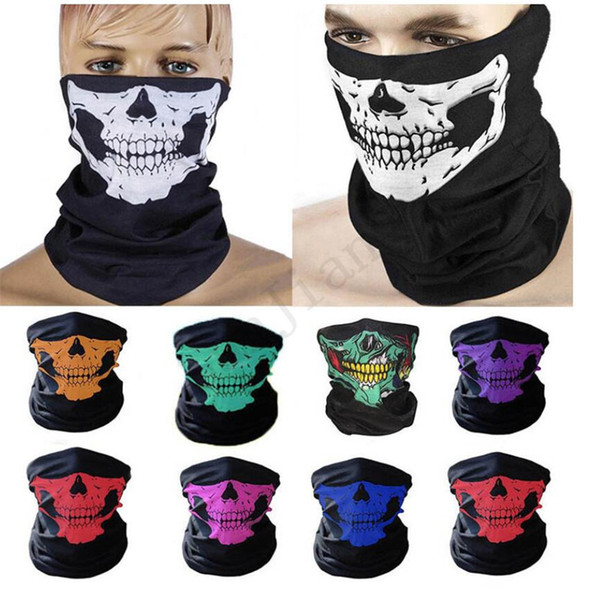 top popular Fashion Face Mask Cartoon Skull Sports Headband Cycling Scarf Magic Ski Bandanas Head Wraps Cosplay CS Game Facemask Mouth Cover E81102 2021