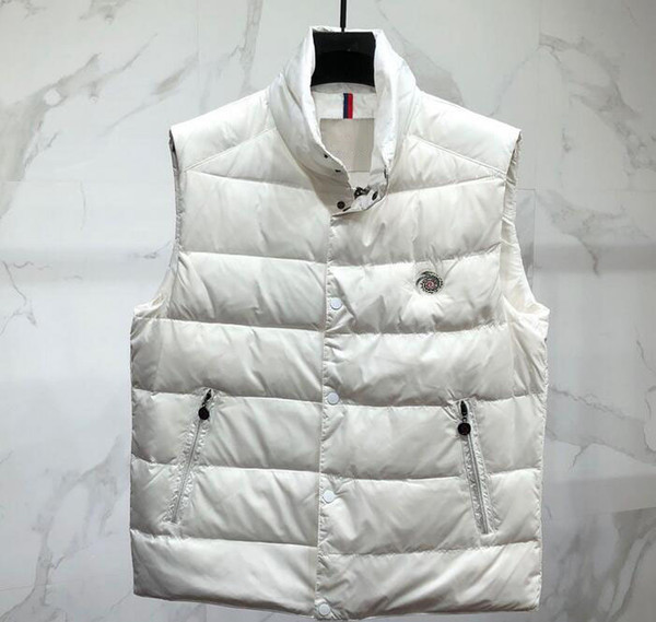 top popular Oversized down vest Add fertilizer autumn winter winter outdoor men's down vest large size stand collar thick warm down jacket 2020
