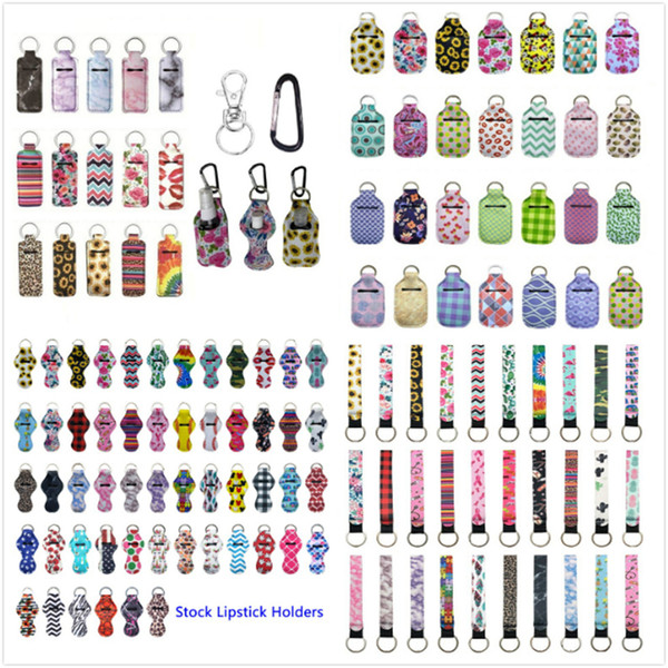best selling 229 Styles Neoprene Hand Sanitizer Bottle Holder Keychain Bags 30ml Hand Sanitizer Bottle Wristlet Keychain Chapstick Holder