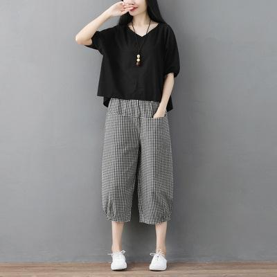 Pantalon noir Plaid