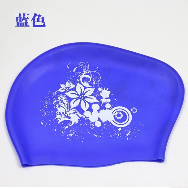 Blue (silicone Flower Swimming Cap)
