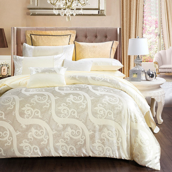 CottonLuxury Silk Bedding Set Embroidery Bed Linens Satin Bed Sheet Set Jacquard Bedclothes Queen/King Size Bed cover