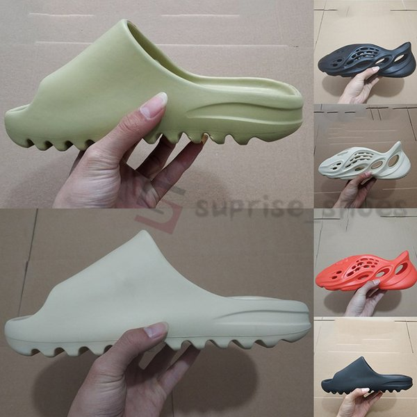 top popular With Box Foam Runner Sandal Kanye Slides Fashion pantoufle Bone Sand Black Resin Men Women Designers flip flops Slipper mules Loafers 20ss 2020