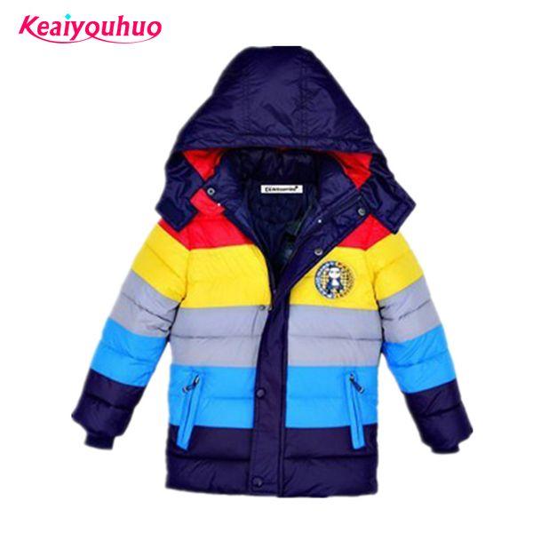 top popular Children Jackets Boys stripe Winter down coat 2020 Baby Winter Coat Kids warm outerwear Hooded Coat for 2-7 yrs Children Clothes LJ200831 2021