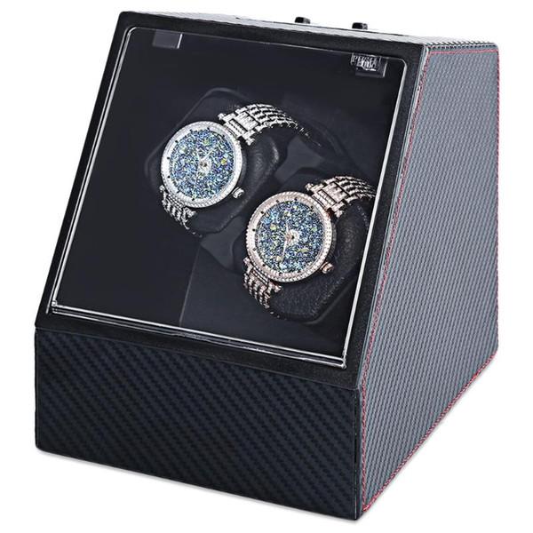top popular Carbon Fiber Auto Silent Watch Winder Irregular Shape Transparent Cover Wristwatch Box with EU Plug 2021