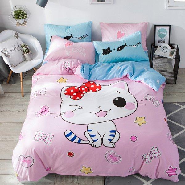 girl bedding cat