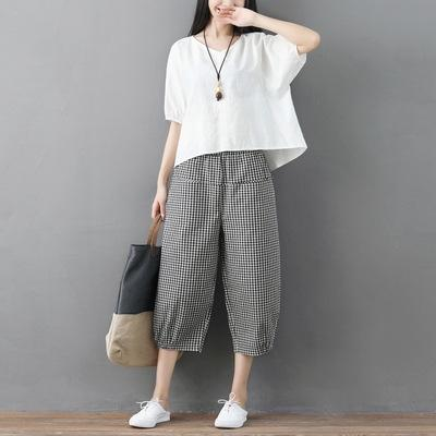 Pantalon blanc Plaid