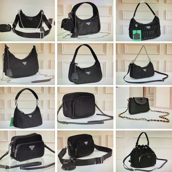 best selling Vintage nylon hobo pleated cross body bag feel mini handbags women shoulder bag camera bags fashion camouflage purses chain tote key wallet