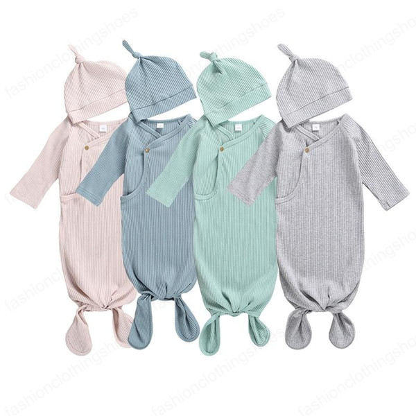 best selling Newborn Baby Swaddle Blanket hat 2 pcs Wrap INS Toddler Cartoon Sleeping Sacks Photography Prop pit knitted solid Infant Sleeping Bag