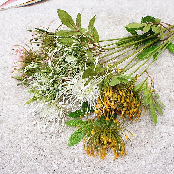 White Leucospermum Artificial Flowers Long Branch Fake Flower Plastic Flowers for Wedding Decoration Garden Outdoor High Quality