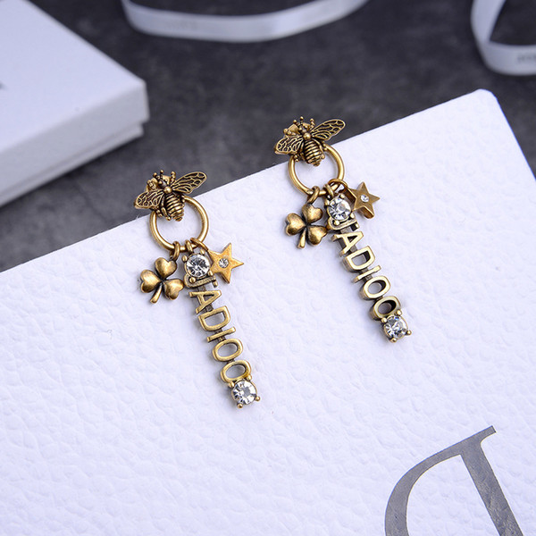 best selling 2020 New D letters five-pointed star bee earrings women's personalized fashion diamond-encrusted brass earrings