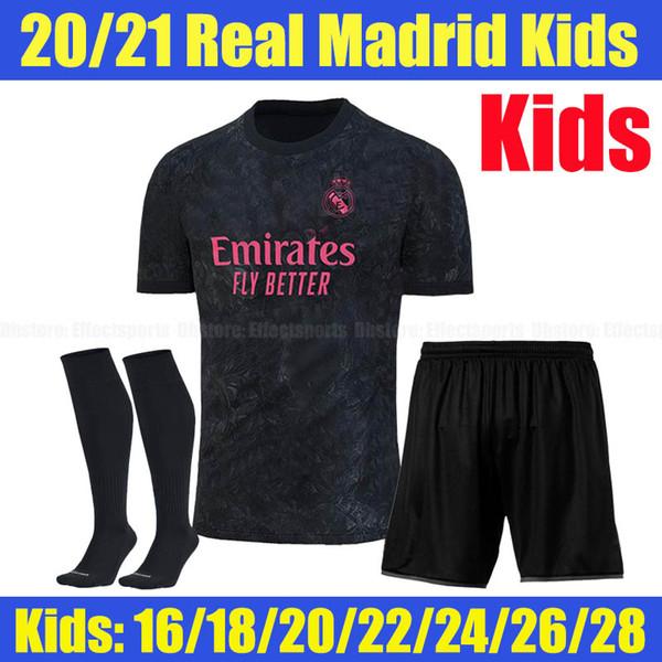 2020 Real Madrid troisième chaussettes pour enfants