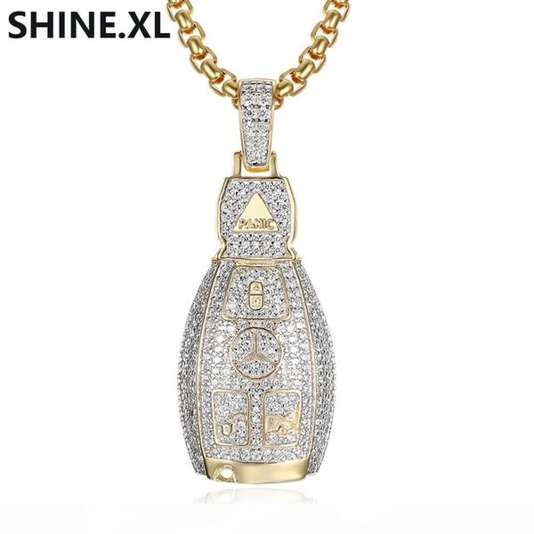hip hop car keychain pendant necklace gold silver color plated micro paved cubic zircon charm necklace