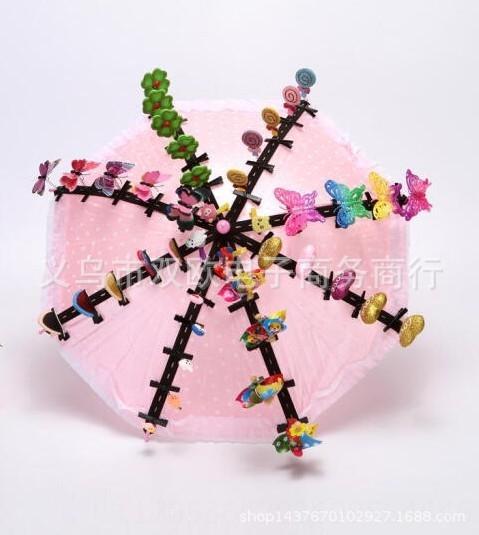 Paraguas de color rosa con 50 de las horquillas