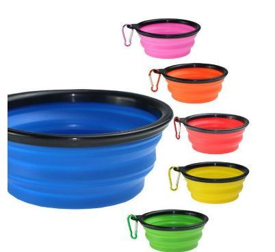 best selling 2018 Travel Collapsible Pet Dog Cat Feeding Bowl Water Dish Feeder Silicone Foldable 9 Colors To Choose Feeding Bowl