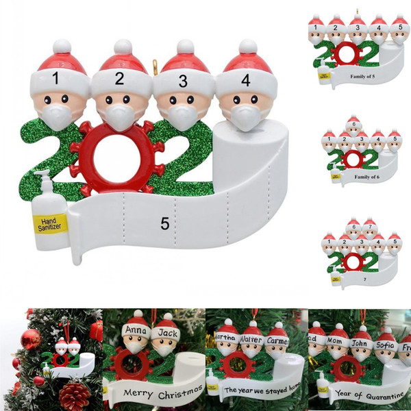 best selling US Stock 2020 Quarantine Christmas Santa Party Decoration Resin Gift Product Personalized Family Of 4 Ornament Pandemic Social Distancing