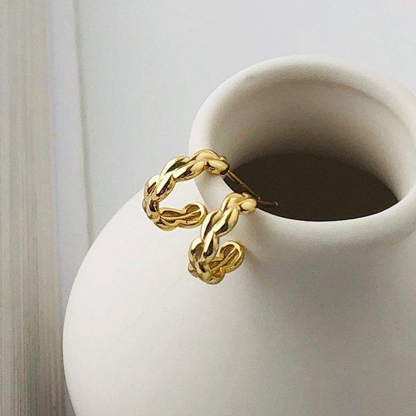 E2154_golden Küpe-925 Gümüş