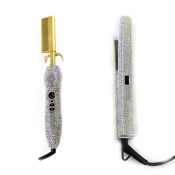 top popular Crystal Hair Straighter Flat Iron and Crystal Hot Combs Diamonds Hair Weave brush Hair Boutique Fast Shipping 2021