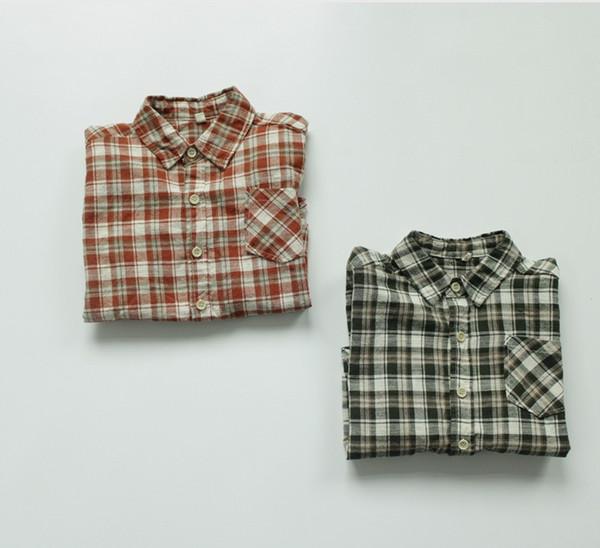 best selling FM INS Korean Japan Kids Girls Boys Plaid Shirts Front Buttons Pockets Quality Autumn Unisex Little Princess Children Tops