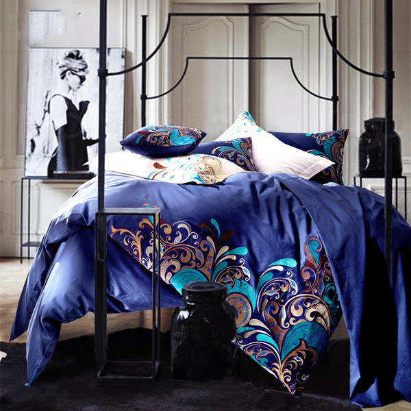 New cotton tribute embroidery bedding set queen king bed set Egyptian cotton home textile bedspread