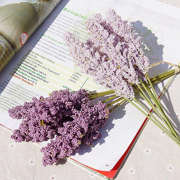 6 pieces /bundle PE lavender cheap Artificial flower wholesale plant wall decoration bouquet material manual diy vases for home