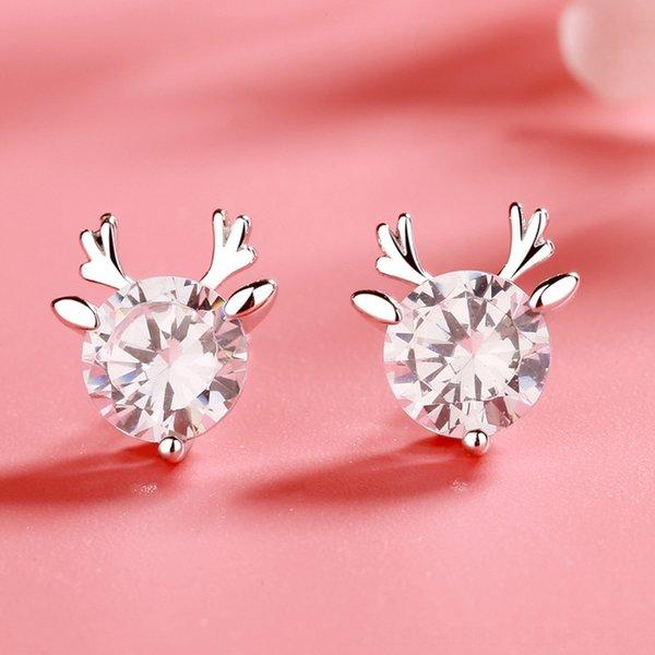 Pendientes cornamenta (diamante blanco) -925 Silv