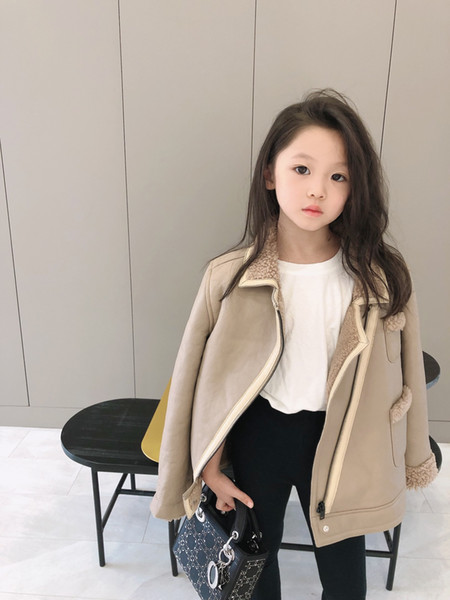 best selling New Baby Girls leather Plus velvet jackets winter Kids warm thicken coats girls outerwear toddler clothes tops